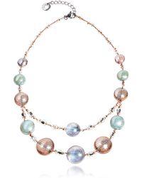 Antica Murrina - Redentore 3 - Pink & Green Murano Glass And Silver Leaf Choker - Lyst