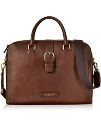 c8c2b4e834 The Bridge - Dark Brown Leather Double Handle Briefcase W/detachable  Shoulder Strap - Lyst