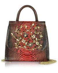 Ghibli - Red Python Leather Satchel Bag W/crystals - Lyst