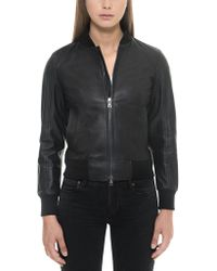FORZIERI - Black Leather Women's Bomber Jacket - Lyst