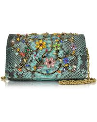 Ghibli | Turquoise Python Mini Crossbody Bag W/multicolor Crystals | Lyst