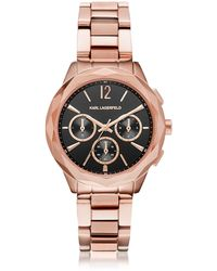 Karl Lagerfeld - Optik Rose Gold Pvd Stainless Steel Women's Chronograph Watch - Lyst