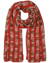 Moschino - Teddy Bear And Signature All Over Printed Modal Stole - Lyst