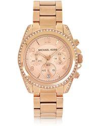 Michael Kors - Rose Golden Stainless Steel Blair Chronograph Glitz Women's Watch - Lyst