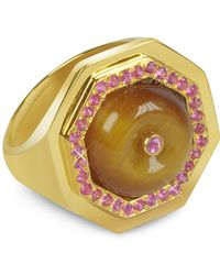 Sho London - Tiger's Eye Clementina Ring - Lyst