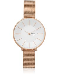 Skagen - Karolina Rose Gold-tone Steel-mesh Watch - Lyst