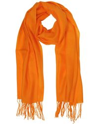 Mila Schon - Orange Wool And Cashmere Fringed Stole - Lyst