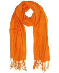 Mila Schon | Orange Wool And Cashmere Fringed Stole | Lyst