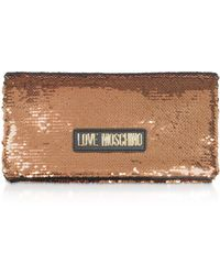 Love Moschino - Rose Gold Sequins Clutch W/ Chain Straps - Lyst