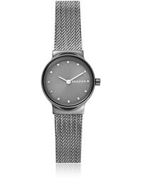 Skagen - Freja Dark Gray Steel-mesh Women's Watch - Lyst