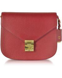 MCM - Patricia Park Avenue Medium Burgundy Leather Shoulder Bag - Lyst