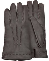 FORZIERI - Men's Cashmere Lined Brown Italian Deer Leather Gloves - Lyst