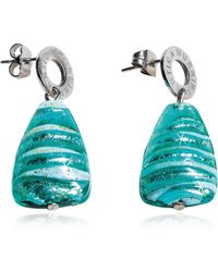 Antica Murrina | Marina 2 - Turquoise Green Murano Glass And Silver Leaf Drop Earrings | Lyst