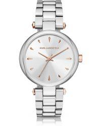 Karl Lagerfeld - Aurelie Stainless Steel Women's Quartz Watch W/signature Dial - Lyst