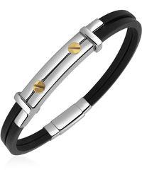 FORZIERI - Men's Stainless Steel And Rubber Screws Bracelet - Lyst