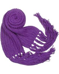 Basile - Cable Knit Fringed Long Scarf - Lyst