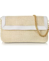 Buti - Straw And Leather Clutch W/shoulder Strap - Lyst