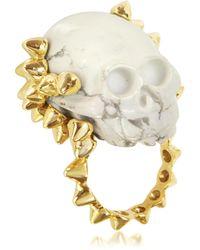 Bernard Delettrez - Golden Studs With Marble Skull Ring - Lyst