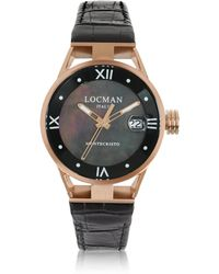 LOCMAN - Montecristo Stainless Steel And Titanium Rose Gold Pvd Women's Watch W/croco Embossed Leather Strap - Lyst