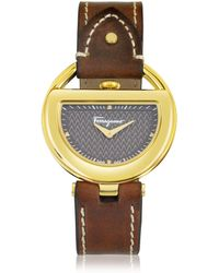 Ferragamo - Buckle Collection Gold Ip Stainless Steel Case And Brown Leather Strap Women's Watch - Lyst