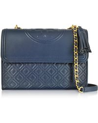 Tory Burch - Fleming Royal Navy Leather Convertible Shoulder Bag - Lyst