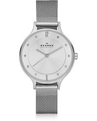 Skagen - Anita Silvertone Stainless Steel Women's Watch W/mesh Bracelet Band - Lyst