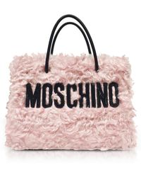 Moschino - Pink Fleece Signature Tote Bag - Lyst