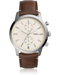 Fossil - Townsman 44mm Chronograph Brown Leather And Cream Dial Men's Watch - Lyst