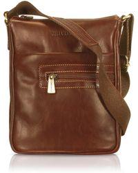 Chiarugi - Handmade Brown Genuine Leather Vertical Cross-body Bag - Lyst