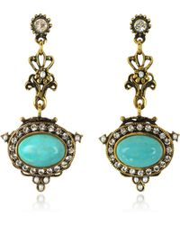 Alcozer & J - Magnesite Goldtone Brass Earrings W/crystals - Lyst