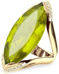 FORZIERI - Green Gemstone And Diamond Yellow Gold Fashion Ring - Lyst