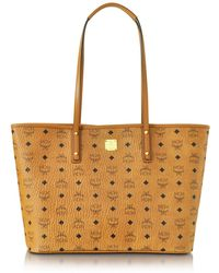 MCM - Anya Cognac Top Zip Medium Shopping Bag - Lyst