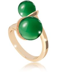 Rebecca - Boulevard Stone Yellow Gold Over Bronze Contrarié Ring W/hydrothermal Green Stones - Lyst