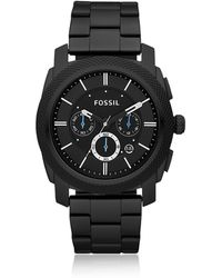 Fossil - Machine Chronograph Black Stainless Steel Watch - Lyst