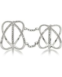 Bernard Delettrez - 18k White Gold Criss Cross Articulated Ring W/diamonds Pave - Lyst