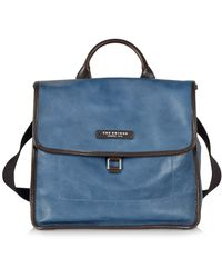 The Bridge - Urban Blue Leather Small Backpack - Lyst