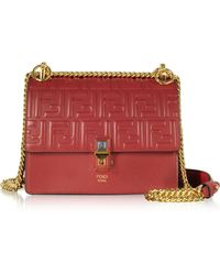 6b4505bc262b Fendi - Strawberry Red Ff Printed Leather Kan I Small Shoulder Bag - Lyst