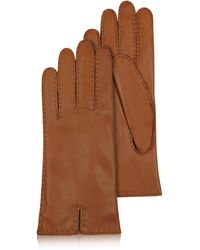 Forzieri | Women's Cashmere Lined Brown Italian Leather Gloves | Lyst