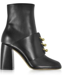 RED Valentino - Embellished Black Leather High Heel Booties - Lyst