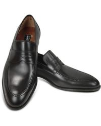 Fratelli Rossetti - Black Calf Leather Penny Loafer Shoes - Lyst