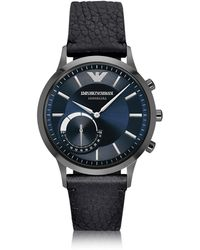 Emporio Armani Connected Gunmetal Pvd Stainless Steel Hibrid Men's Smartwatch W/leather Strap