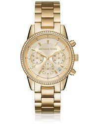 Michael Kors - Ritz Pavé Gold Tone Women's Watch - Lyst