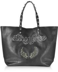 RED Valentino - Stay Free Black Leather Tote - Lyst