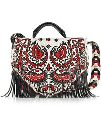 RED Valentino - Cherry Ivory And Black Floral Baroque Printed Leather Single Handle Bag W/fringes - Lyst