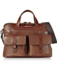 The Bridge - Brown Leather Double Handle Briefcase W/two Front Pockets - Lyst