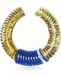 Pluma - Gold Blue And White Fishbone Necklace - Lyst