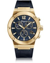 Ferragamo - F-80 Gold Ip Stainless Steel Men's Chronograph Watch W/blue Croco Embossed And Black Rubber Strap - Lyst