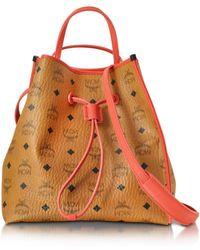 MCM - Kira Visetos Medium Cognac Drawstring Bucket Bag - Lyst