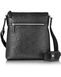 MCM - Ottomar Black Monogram Leather Small Messenger Bag - Lyst