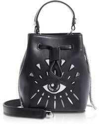 KENZO - Eye Black Leather Mini Bucket Bag - Lyst